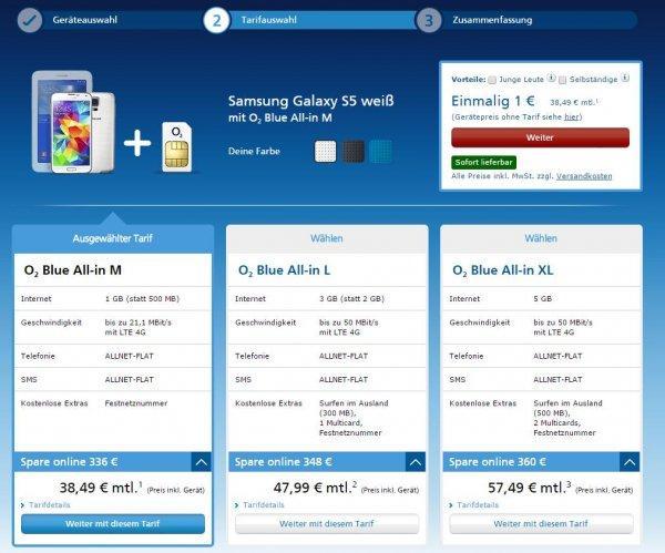 Samsung Galaxy S5 mit GRATIS Tablet mit Allnet-Flat inkl. 1 GB LTE Highspeed-Surfen