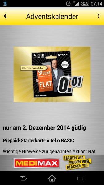 MediMax Gera Prepaid-Starterkarte o.tel.o BASIC incl. 5 € Startguthaben für 0,01 Euro