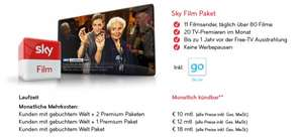 [sky.de] Bestandskunden: Film Paket und/oder HD monatlich kündbar dazubuchen