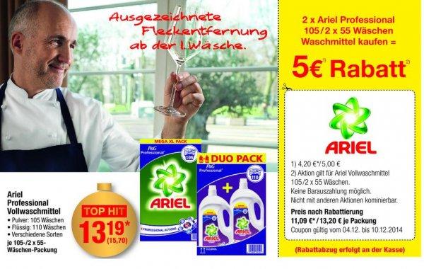 Ariel Professional Vollwaschmittel ab dem 04.12.2014 bei der METRO für ca.12 Cent pro Waschgang