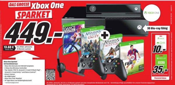 XBoxOne + 2. Controller + Kinect Sensor + Headset + 14 Tage Gold + HDMI Kabel + AC Unity + AC Black Flag + Fifa 15 + Dance Central (MediaMarkt exklusiv)