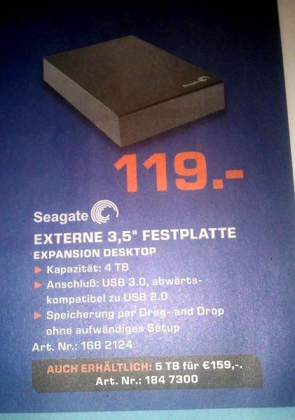 [offline, bundesweit, online] Seagate Expansion Desktop USB 3.0 4TB/5TB für 119,00EUR / 159,00EUR @SATURN