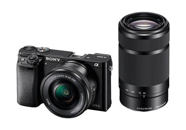 "Sony Alpha 6000 Systemkamera (24 Megapixel, 7,6 cm (3"") LCD-Display, Exmor APS-C Sensor, Full-HD, High Speed Hybrid AF) inkl. SEL-P1650 und SEL-55210 Objektiv schwarz"