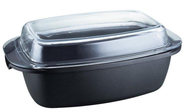Kopf Aluguss-Bräter Pic (5,2 L, 40 x 22 cm, inkl, Glasdeckel und Topfhandschuhen) schwarz für 24,99€ für PRIME Kunden