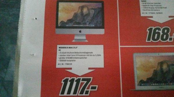 """Apple I Mac 21,5"""" ME086D/A MediaMarkt Eschweiler"""