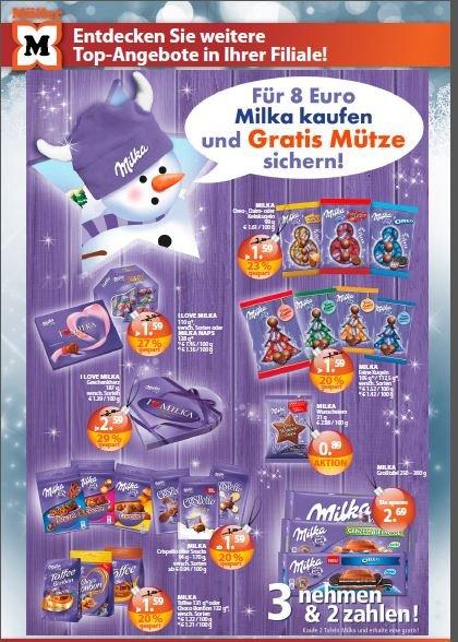 Müller offline - Für 8 Euro Milka kaufen - 1 Milka Mütze gratis