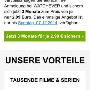 3 Monate Watchever für 2,99€