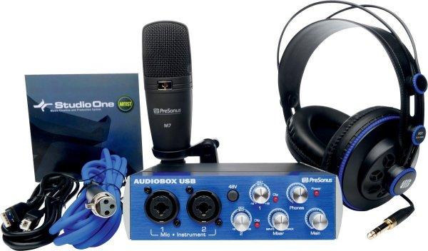 Presonus Audiobox Kit (USB Audiointerface, Studio one Software, M7 Großmembran-Mikro, HD- 7 Kopfhörer)  für 155,96 € @Amazon.fr