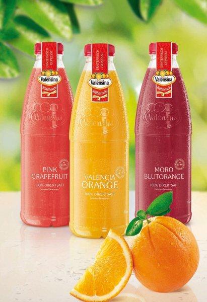 Valensina Valencia Orangensaft und andere Sorten je 1 Liter Flasche (100 % Direktsaft) gratis testen! (Bundesweit)