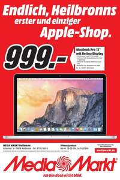 Media Markt Heilbronn Mac Book Pro 13 Zoll mit Retina Display 999€ Idealo ab 1109€