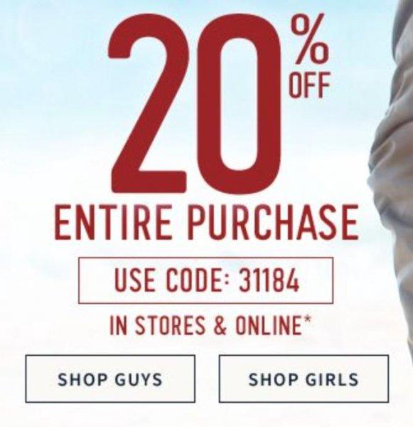 [Hollister online & offline] 20% Rabatt auf den gesamten Einkauf + kostenlose Lieferung