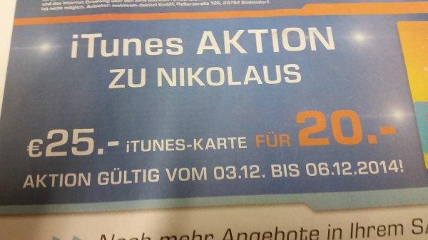 25€-iTunes-Karte für 20€ [@Saturn - Lokal Nürnberg/Fürth/Erlangen/Ansbach]
