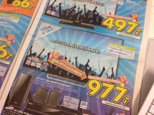 Sony KDL 60W605B 977 Euro Euronics Echterdingen
