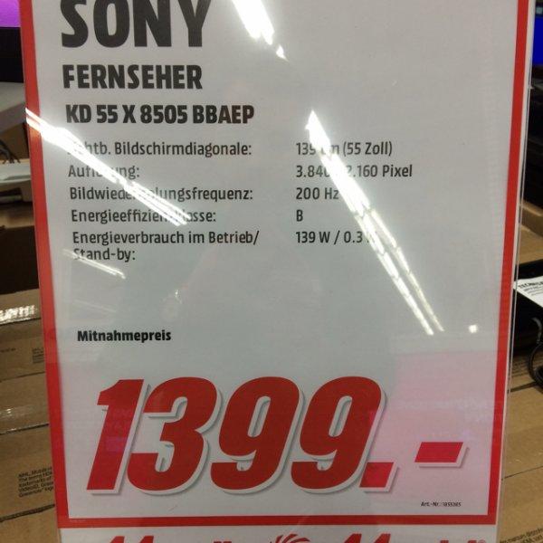 [Lokal Düsseldorf-Bilk Media Markt ]Sony KD55X8505 55 Zoll 4K Fernseher (bis Samstag)