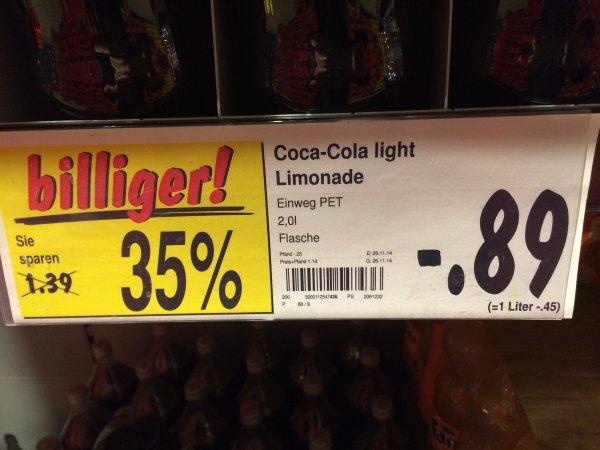 [Lokal Karlsruhe] Kaufland 2L PET Coca Cola Light 0,89€