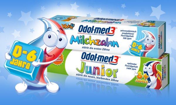 [MÜLLER BUNDESWEIT] KW50: Odol-Med 3 Juniorzahn-/ oder Milchzahn-Creme 50ml + Badeperlen Hausmarke