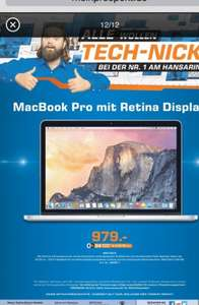 (Lokal) Köln Saturn Hansaring MacBook Pro Retina 979€