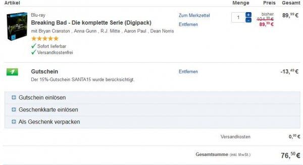 Breaking Bad - Die komplette Serie (Blu Ray) 76,50€ und DVD 72,25€