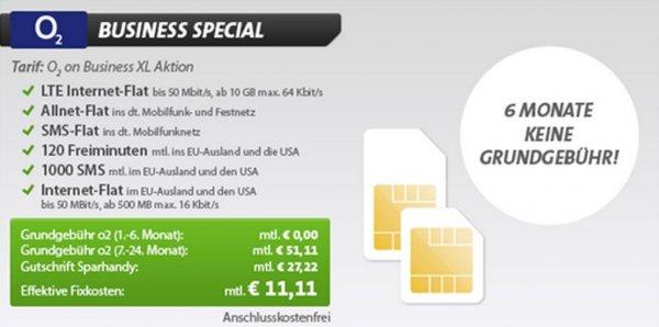 Allnet + 10GB + EU-Vorteile nur 11,11€/Monat mtl. Gutschrift für Geschäftskunden!