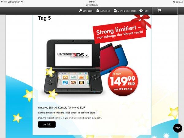 Nintendo 3DS XL 149,99€ bei Gamestop nur offline und nur am 5.112014
