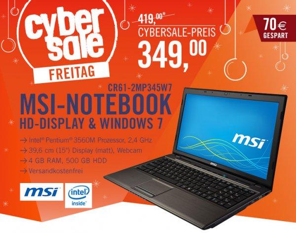 "MSI CR61-2MP345W7 3560M 4GB 500GB 39,6cm 15""HD Windows 7 Home Premium - Cybersale"