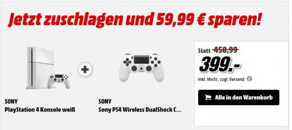 Playstation 4 in Weiß Glacier White mit ZWEI Controllern
