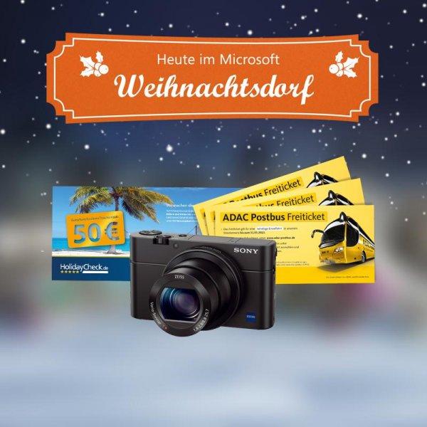 Microsoft Adventskalender #5: Sony Camera, Holiday Check Gutscheine, Adac Postbus