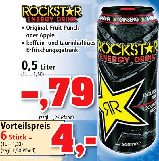 Rockstar Energydrink 6 GROSSE 0,5l Dosen für 4,00€ ab Montag bei [ Philipps ]