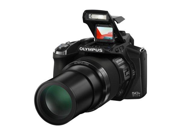 Olympus SP-100 EE Digitalkamera (16 Megapixel CMOS-Sensor, 50-fach opt. Zoom, Full-HD Video) inkl. Sucher, Punktvisier schwarz für 219€ @Amazon Cyber Monday