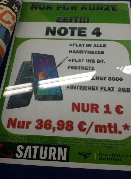 [Saturn Wuppertal] Galaxy Note 4 mit Vodafone Real Allnet Flatrate 2GB (36,98€ mtl) für 1€