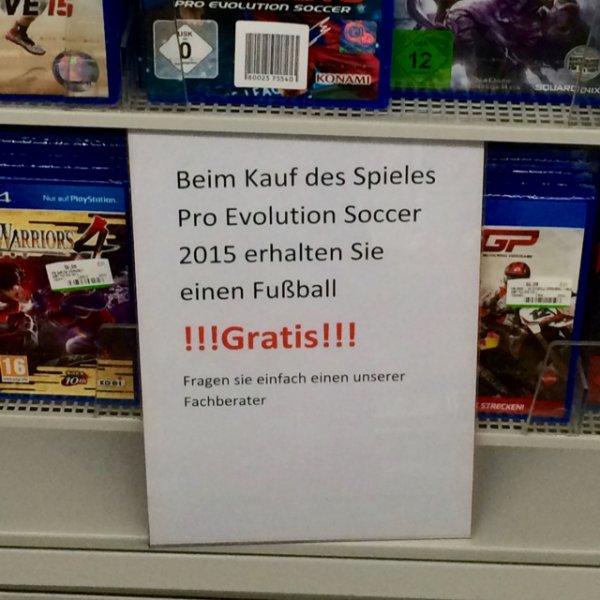 [Lokal Media Markt Sindelfingen] Gratis Fußball beim Kauf von PES 2015