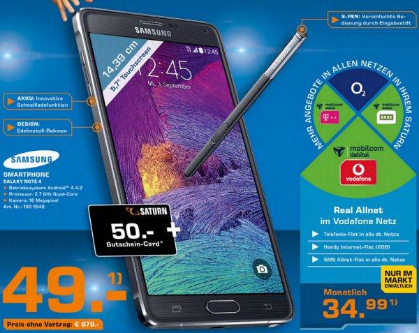 [Saturn] MD Vodafone realAllnet Samsung Note 4  für effektiv ~9€ mtl.