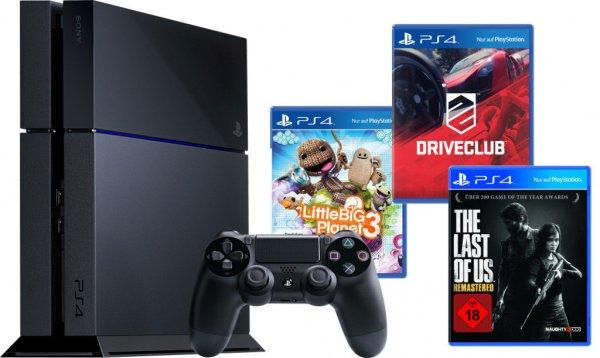 ebay WOW - Sony Playstation 4 / PS4 - SuperBundle 2 (Driveclub, Last of Us, LBP 3) für 419€