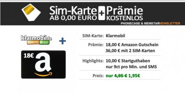 Klarmobil SIM-Karte + 18,00 € AMAZON Gutschein