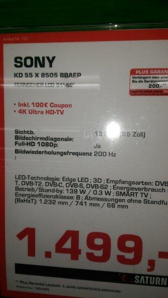 [lokal Freising] Sony KD-55X8505 im Saturn Freising für 1499€ + 100€ Geschenkarte