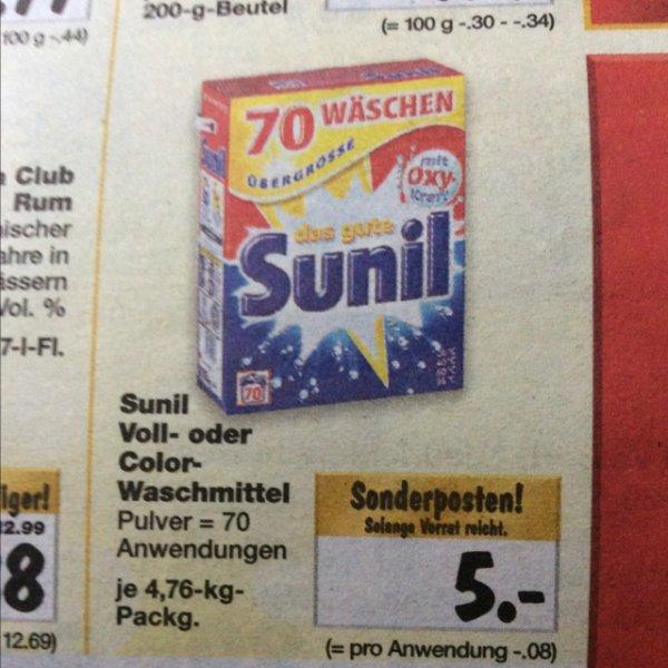 5€ Sunil Voll- oder Color- Waschmittel ab 08.12. [Kaufland]