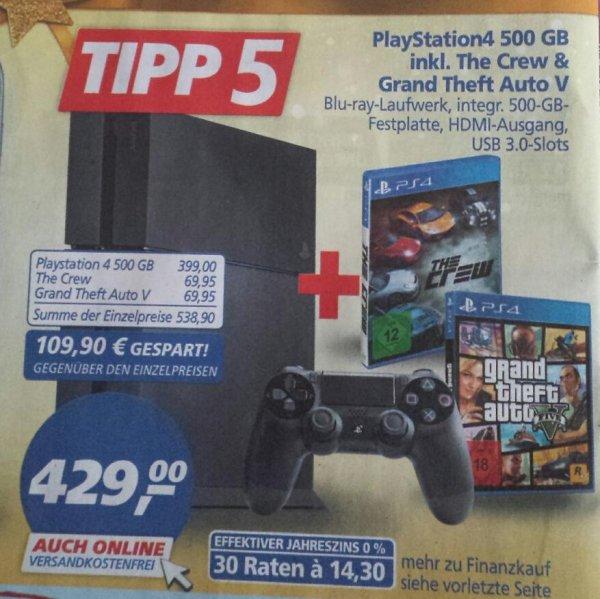 Playstation 4 mit 1 Controller + GTA V + The Crew 12 & 13. Dez für 391.46!! @real.de