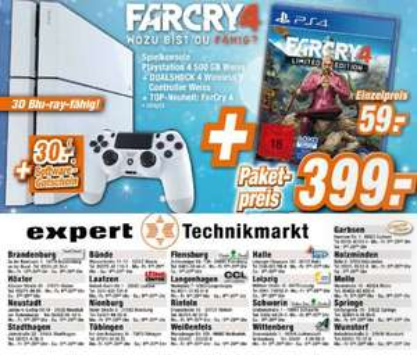 Expert PS4 weiß + FarCry 4 + 30€ Software Gutschein für 399