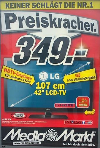 LG 42 LK 430 /HD/107cm/3xHDMI/USB-PORT/ wieder da für 349€!