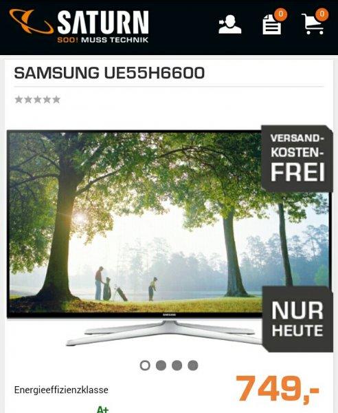 [Saturn.de] UE55H6600 3D LED Fernseher für 749€ und 1,6% Qipu, nur heute!