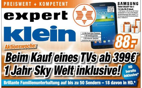 Expert Klein: 1 Jahr Sky Welt gratis bei Kauf eines TV Geräts ab 399€