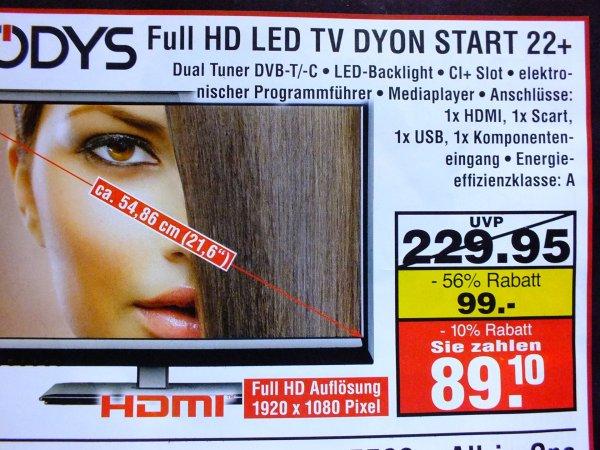 Odys Full HD LED TV DYON START 22+    (Lokale Aktion)