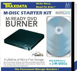 Externer Traxdata USB-DVD-Brenner mit 3 M-DISC Rohlingen [Preisfehler Amazon Marketplace]