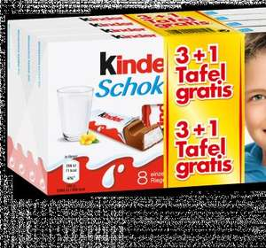 Penny: Ferrero Kinder Schokolade oder Yogurette - jeweils 4 Tafeln für 2,22 Euro (entspricht einem Einzelpreis von 0,55 Euro).