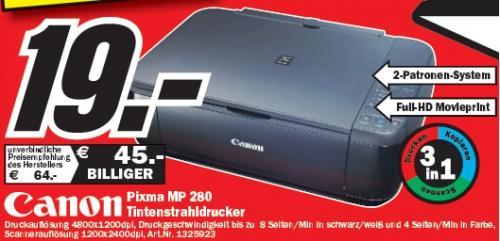 Media Markt Stade: Canon Pixma MP280 für 19€! Günstigter geht All-In-One nicht!