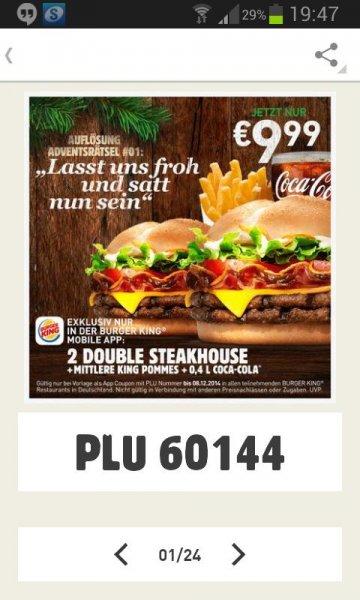 [Burger King] 2 Double Steakhouse Burger + Pommes + 0, 4er Getränk