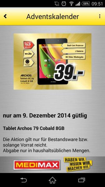 MediMax Gera Tablet Archos 79 Cobalt 8GB Wi-Fi für 39,- Euro ** Nur am 09.12.14 **