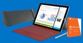 Microsoft Surface Pro 3 - Core i7, 256 GB SSD, Type Cover + Dockingstation + Office