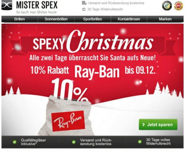 Mister Spex - 10% Rabatt auf alle RayBan Brillen-nur bis einschließlich 09.12.2014