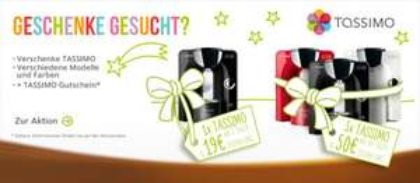 """Sparaktion """"Geschenke gesucht"""" zu Weihnachten: TASSIMO-Modelle ab 5 Treuetaler und 19€ Zuzahlung!"""